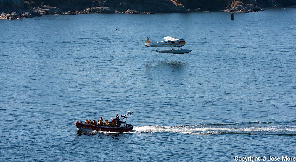 Sea planes landing at Victoria Harbor, Vancouver Island.<br /> Photography by Jose More