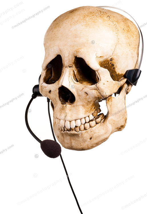 Sad Skull and headset. Bad customer service.