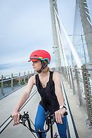 Nutcase helmet shoot on Tilikum Bridge in Portland