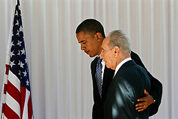 SHIMON PERES (2 August 1923 - 28 September 2016) was a Polish-born Israeli statesman. Born Szymon Perski, he was the ninth President of Israel from 2007 to 2014, served twice as the Prime Minister of Israel and twice as Interim Prime Minister, and he was a member of 12 cabinets in a political career spanning over 66 years. Peres won the 1994 Nobel Peace Prize together with Yitzhak Rabin and Yasser Arafat for the peace talks that he participated in as Israeli Foreign Minister, producing the Oslo Accords. PICTURED: July 23, 2008 - Jerusalem, Israel - US Senator and Democratic Presidential candidate BARACK OBAMA (L) walks with Israeli President SHIMON PERES during their joint press conference at the President's office. (Credit Image: © PROPA Images/zReportage.com via ZUMA Wire)