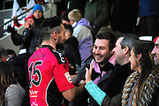 Sean Francis celebrates with the crowd after win during the The FA Cup match between Cheltenham Town and Dover Athletic at Whaddon Road, Cheltenham, England on 7 December 2014.