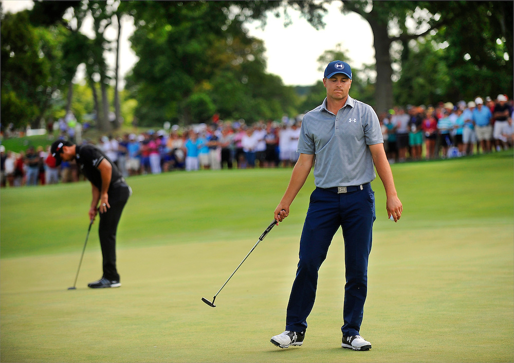 Jordan Spieth reacts to a missed putt during the first round of the Barclays Championship held at Plainfield Country Club in Edison, New Jersey on August 27.