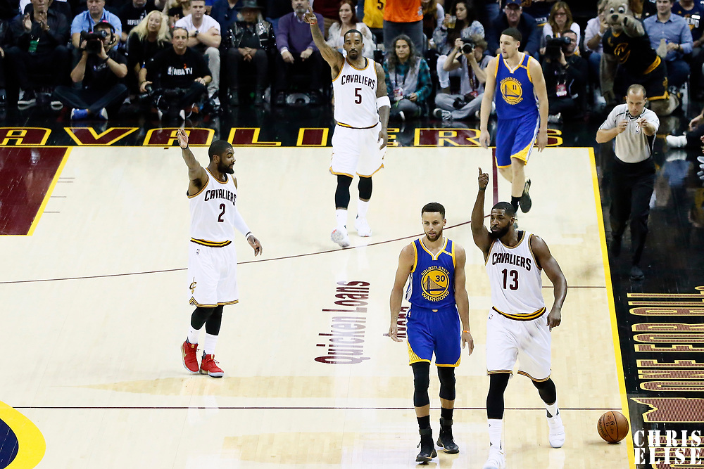 09 June 2017: Cleveland Cavaliers guard JR Smith (5), Cleveland Cavaliers guard Kyrie Irving (2) and Cleveland Cavaliers center Tristan Thompson (13) react, next to Golden State Warriors guard Stephen Curry (30) and Golden State Warriors guard Klay Thompson (11) during the Cleveland Cavaliers 137-11 victory over the Golden State Warriors, in game 4 of the 2017 NBA Finals, at  the Quicken Loans Arena, Cleveland, Ohio, USA.