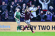 6 Christophe Berra scores winning goal induring the William Hill Scottish Cup 4th round match between Heart of Midlothian and Hibernian at Tynecastle Stadium, Gorgie, Scotland on 21 January 2018. Photo by Kevin Murray.