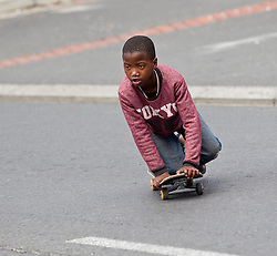 An appropriate means of transport on King Langalibalele Street during the Open Streets Langa event on 30 October 2016, when the street was closed to motorised vehicles and opened to people. Hosted by Open Streets Cape Town and supported by the City of Cape town and WWF. photo by John Tee/RealTime Images.