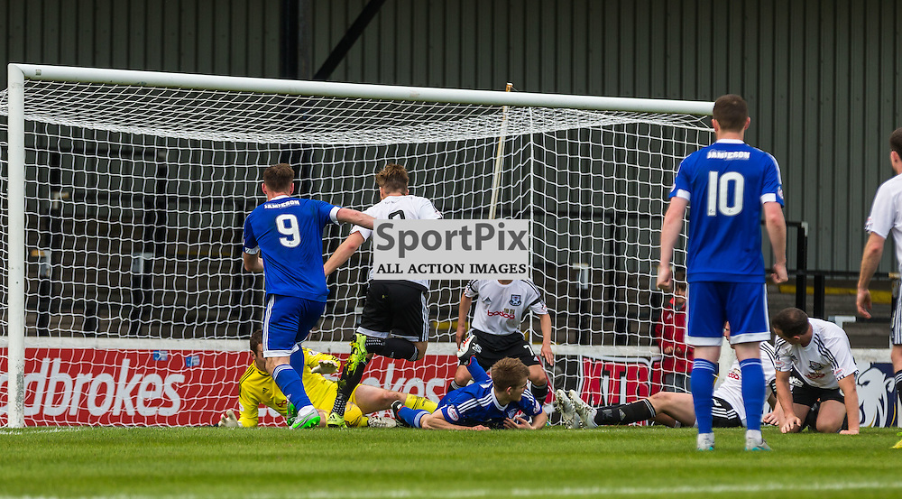 Goalmouth action during the Scottish League 1 fixture between Ayr Utd and Peterhead (c) ROSS EAGLESHAM | Sportpix.co.uk