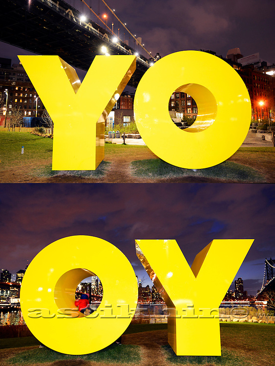 """YO"" and ""OY"" on Brooklyn Bridge Park's Main Street Lawn in Brooklyn."