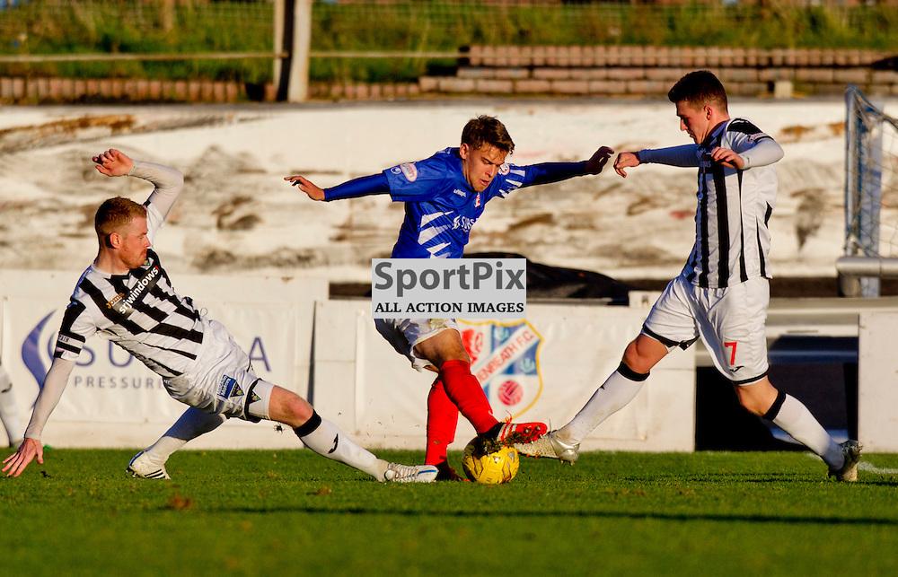 Cowdenbeath v Dunfermline Athletic SPFL League One Season 2015/16 Central Park 31 October 2015<br /> Andy Geggan and David Hopkirk challenge Kyle Miller<br /> CRAIG BROWN   sportPix.org.uk