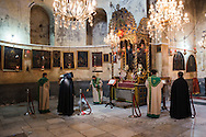 Armenian Orthodox Christians worship at the Church of the Nativity in Bethlehem, Palestine