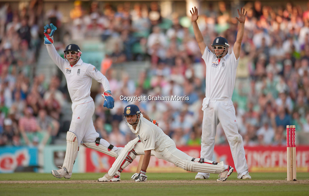 Suresh Raina is stumped by Matt Prior off the bowling of Graeme Swann during the fourth and final npower Test Match between England and India at the Oval, London.  Photo: Graham Morris