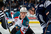 KELOWNA, CANADA - FEBRUARY 2:  Conner Bruggen-Cate #20 of the Kelowna Rockets faces off against Josh Pillar #9 of the Kamloops Blazers on February 2, 2019 at Prospera Place in Kelowna, British Columbia, Canada.  (Photo by Marissa Baecker/Shoot the Breeze)