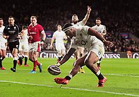 Rugby Union - 2020 Guinness Six Nations Championship - England vs. Wales<br /> <br /> Manu Tuilagi of England touches down for his try, at Twickenham.<br /> <br /> COLORSPORT/ANDREW COWIE