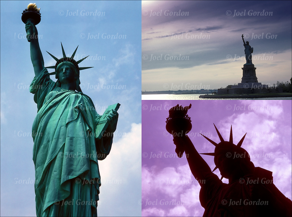 Three views of the Statue of Liberty.<br /> <br /> Statue of Liberty - GOR-73449<br /> Statue of Liberty - GOR-73451<br /> Statue of Liberty - GOR-73488