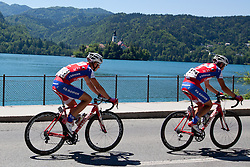 KUMP Marko of KK Adria Mobil and PAVLIN Simon of KK Adria Mobil during 3rd Stage (219 km) at 19th Tour de Slovenie 2012, on June 16, 2012, in Skofja Loka, Slovenia. (Photo by Matic Klansek Velej / Sportida.com)