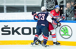 Matt Hendricks of USA vs Jaromir Jagr of Czech Republic during Ice Hockey match between USA and Czech Republic at Third place game of 2015 IIHF World Championship, on May 17, 2015 in O2 Arena, Prague, Czech Republic. Photo by Vid Ponikvar / Sportida