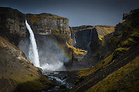 Háifoss waterfall, South Iceland. The river Fossá, a tributary of Þjórsá, drops here from a height of 122 m. This is the second highest waterfall of Iceland.