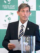 Andrew Jarrett - official ITF referee while official draw one day before the BNP Paribas Davis Cup 2013 between Poland and South Africa at MOSiR Hall in Zielona Gora on April 04, 2013...Poland, Zielona Gora, April 04, 2013..Picture also available in RAW (NEF) or TIFF format on special request...For editorial use only. Any commercial or promotional use requires permission...Photo by © Adam Nurkiewicz / Mediasport