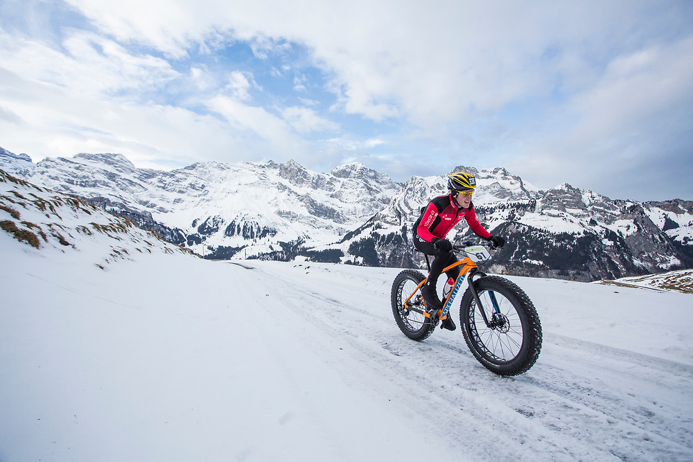 Ibon Zugasti of Spain leads the race during stage 2 and 3 of the first Snow Epic, the ascent and decent of Brunni H&uuml;tte near Engelberg, in the heart of the Swiss Alps, Switzerland on the 16th January 2015<br /> <br /> Photo by:  Nick Muzik / Snow Epic / SPORTZPICS