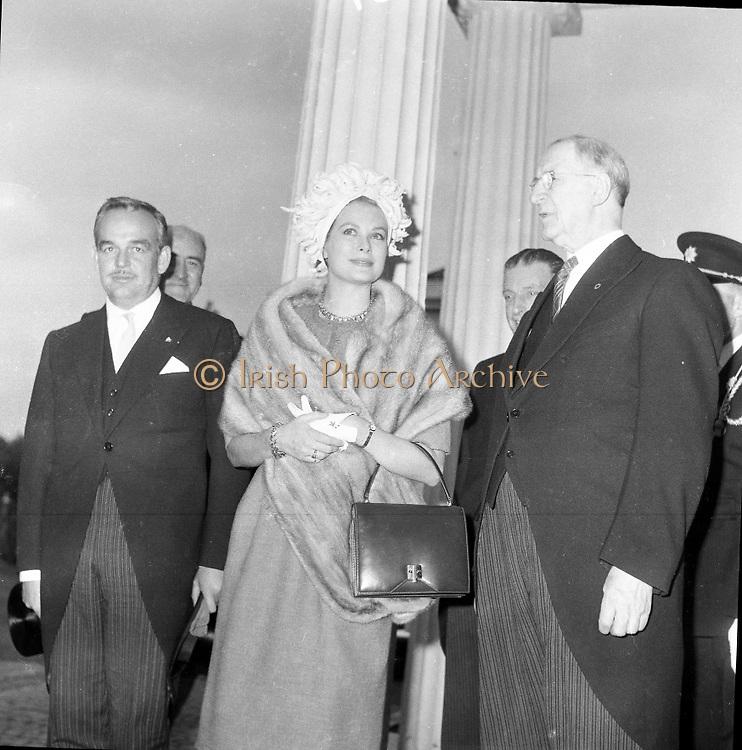 Royal Visit to Ireland by Princess Grace and Prince Rainier of Monaco. The royal couple arrive at Áras an Uachtarain..10.06.1961