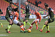 Blackpool Midfielder, Sessi D'Almeida (8) and Blackpool Midfielder, Sean Longstaff (15)  battles for possession  during the EFL Sky Bet League 1 match between Blackpool and Bristol Rovers at Bloomfield Road, Blackpool, England on 13 January 2018. Photo by Mark Pollitt.