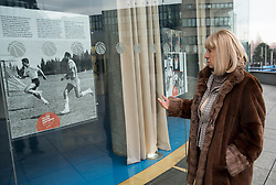 "Biserka Petrovic, mother of basketball player Drazen Petrovic infront of  a museum named ""The Drazen Petrovic Memorial Center"" in the Cibona Tower, on January 4, 2013 in Zagreb, Croatia. (Photo By Vid Ponikvar / Sportida.com)"