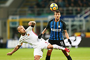 Matias Vecino of Inter and Radja Nainggolan of AS Roma during the Italian championship Serie A football match between FC Internazionale and AS Roma on January 21, 2018 at Giuseppe Meazza stadium in Milan, Italy - Photo Morgese - Rossini / ProSportsImages / DPPI