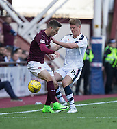 \MO| and Hearts&rsquo; Andraz Struna battle for the ball - Hearts v Dundee in the Ladbrokes Scottish Premiership at Tynecastle, Edinburgh, Photo: David Young<br /> <br />  - &copy; David Young - www.davidyoungphoto.co.uk - email: davidyoungphoto@gmail.com