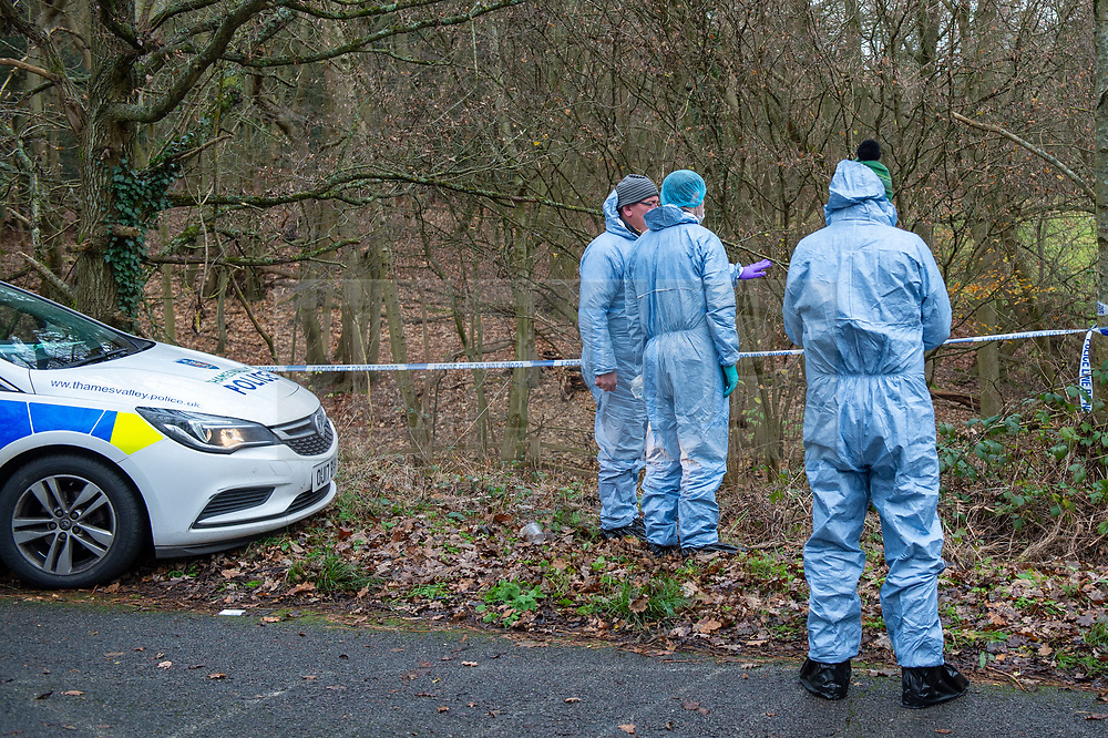 """© Licensed to London News Pictures. 07/12/2019. Gerrards Cross, UK. Forensic investigators look over one of two areas as London's Metropolitan Police Service searches woodland in Gerrards Cross, Buckinghamshire. Police have been in the area conducting operations since Thursday 5th December 2019 and are searching two areas on Hedgerley Lane. In a press statement a Metropolitan Police spokesperson said """"Officers are currently in the Gerrards Cross area of Buckinghamshire as part of an ongoing investigation.<br /> """"We are not prepared to discuss further for operational reasons.""""<br /> Photo credit: Peter Manning/LNP"""