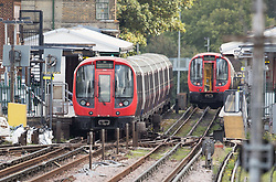 © Licensed to London News Pictures. 15/09/2017. London, UK. Two abandoned tube trains are seen in Parsons Green Station after a small explosion during the morning rush hour. A number of casualties have been reported. Photo credit: Peter Macdiarmid/LNP