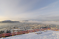 Winter View of Bergen from the top of Mt Fløyen. Image taken with a Nikon Dxs and 10.5 mm f/2.8 fisheye lens (ISO 200, 10.5 mm, f/8.5, 1/320 sec)