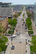 High angle view of Madison, Wisconsin looking east towards East Washington Avenue, taken from the Wisconsin State Capitol Observation Deck.