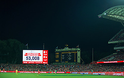 ADELAIDE, AUSTRALIA - Monday, July 20, 2015: The scoreboard records the attendance of 53,008 as Liverpool take on Adelaide United during a preseason friendly match at the Adelaide Oval on day eight of the club's preseason tour. (Pic by David Rawcliffe/Propaganda)