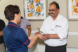 Care UK's Franklin House care home in West Drayton, London, has been awarded a Two Years Pressure Prevention Award from North West London NHS Foundation, in collaboration with Hillingdon TVN Team and Hillingdon CCG. Luxmi from TVN Team and Hillingdon CCG from North West London NHS Foundation presents Franklin House Manager Matthew V Matthew with the award. London, July 11 2019.