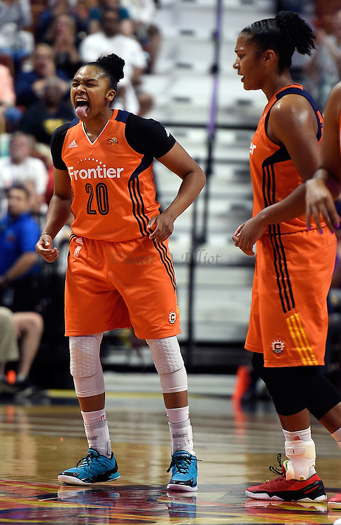 7/7/16 :: SPORTS :: GRIFFEN :: Connecticut's Alex Bentley celebrates a three-pointer that tied the game at the end of regulation against Minnesota in WNBA action Thursday, July 7, 2016 at Mohegan Sun Arena. The Sun came back to take a 93-89 overtime win over the defending WNBA champion Lynx. (Sean D. Elliot/The Day)