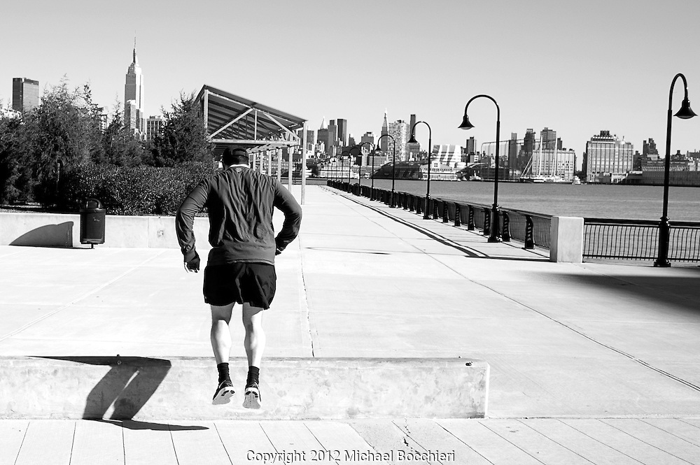 HOBOKEN, NJ - February 03:  A man jumps on February 03, 2012 in HOBOKEN, NJ.  (Photo by Michael Bocchieri/Bocchieri Archive)