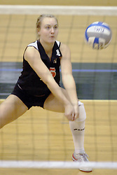 27 October 2006: Alli Alberts digs out a serve for the Bears. The Bears won the match 3 games to 1. The match between the Washington University Bears and the Illinois Wesleyan Titans took place at Shirk Center on the IWU campus in Bloomington Illinois.<br />