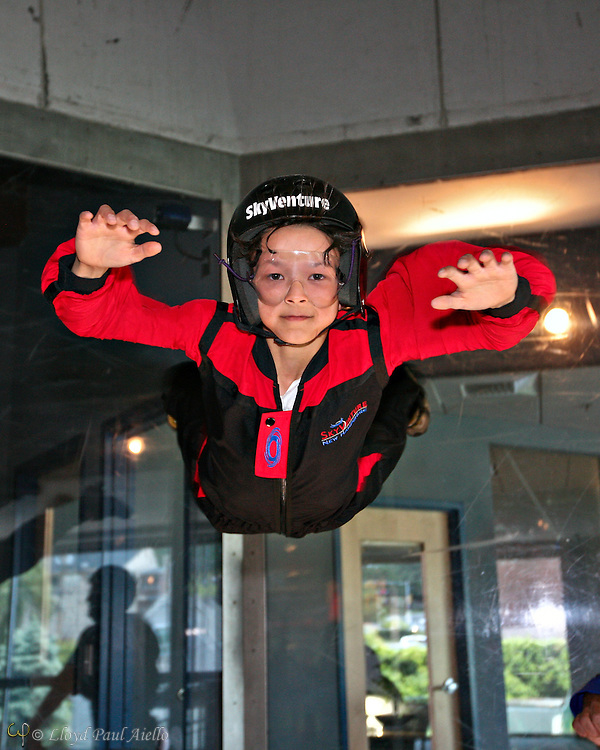 """Skydiving"" in the wind tunnel, Sky Ventures, Nashua, New Hampshire."