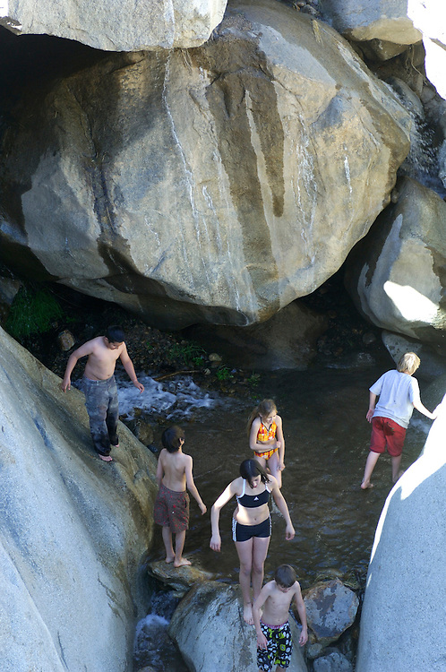 Swimming in Creek, Borrego Palm Canyon, Anza Borrego Desert State Park,  California, United States of America