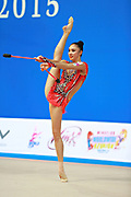 Hayakawa Sakura during qualifying at clubs in Pesaro World Cup 11 April 2015. Sakura is a Japan rhythmic gymnastics athlete born March 17, 1997 in Osaka, Japan. She appeared in Senior competitions in the 2013 season.on.