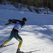 Winter Olympics, Vancouver, 2010.Ben Sim of Australia  practices at Whistler Olympic Park Cross Country Skiing Stadium and course in preparation for the event at the Winter Olympics. 9th February 2010. Photo Tim Clayton