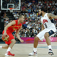 12 August 2012: Spain Sergio Rodriguez drives past USA Deron Williams during 107-100 Team USA victory over Team Spain, during the men's Gold Medal Game, at the North Greenwich Arena, in London, Great Britain.