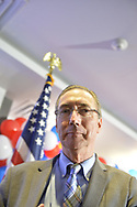 Garden City, New York, USA. November 6, 2018. Nassau County Democrats watch Election Day results at Garden City Hotel, Long Island. On stage were candidates who won election to the New York State Senate, including NYS SENATE SD5 winner JAMES GAUGHRAN.