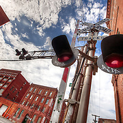 Train crossing at Hickory and Union in the West Bottoms industrial area, Kansas City, MO.