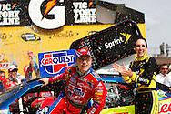 June 14, 2009: 5 Mark Martincelebrates his win at the Life Lock 400 race, Michigan International Speedway, Brooklyn, MI.