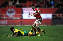 Jamal Lewis of Norwich City is fouled by Callum O'Dowda of Bristol City-Mandatory by-line: Nizaam Jones/JMP - 15/12/2018 - FOOTBALL - Ashton Gate Stadium - Bristol, England - Bristol City v Norwich City - Sky Bet Championship