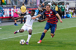 July 1, 2017 - East Hartford, Connecticut, USA - July 1, 2017: Ghana midfielder THOMAS AGYEPONG (2) runs the ball down in front of USA forward JORDAN MORRIS (8) during the 2nd half of the USA vs Ghana Friendly Soccer match at Pratt & Whitney Stadium at Rentschler Field. USA defeated Ghana 2-1. (Credit Image: © Bill Shettle via ZUMA Wire)