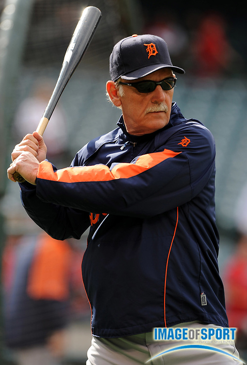May 26, 2008; Anaheim, CA, USA; Detroit Tigers manager Jim Leyland (10) during batting practice before game against the Los Angeles Angels at Angel Stadium. Mandatory Credit: Kirby Lee/Image of Sport-US PRESSWIRE