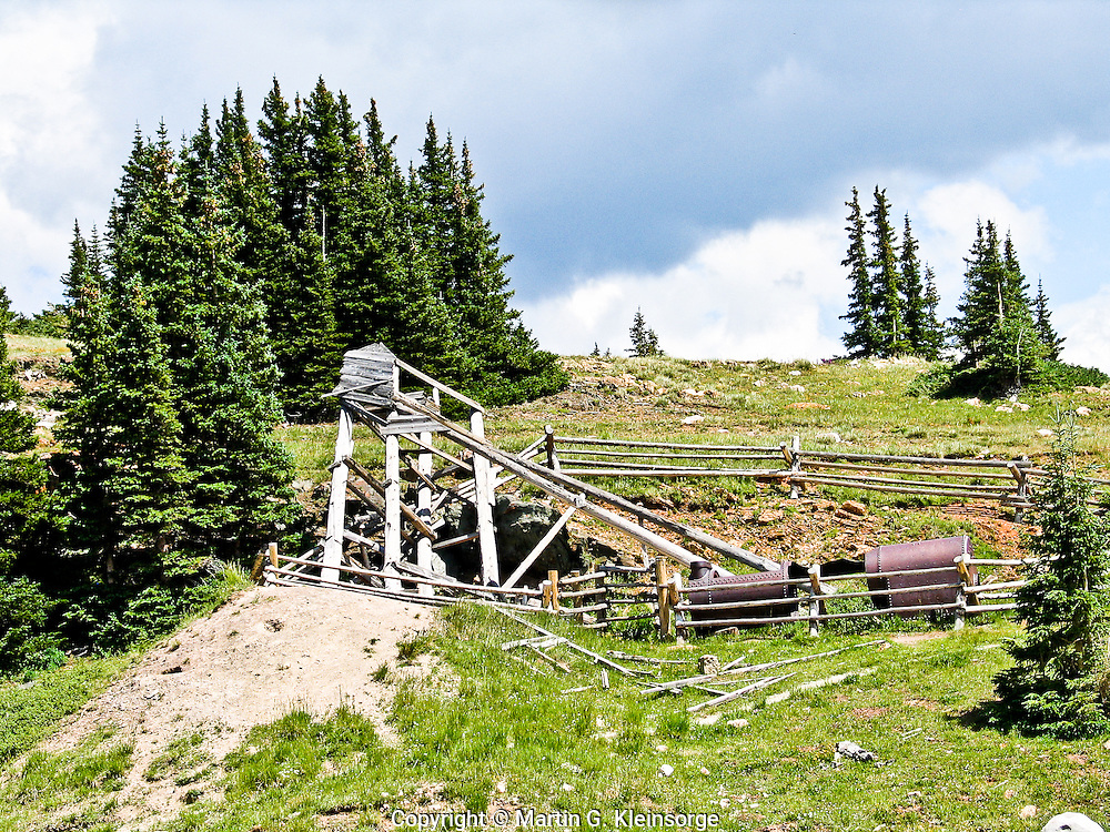 Remains of the Red Mask Mine in the Medicine Bow Mountains.  Constructed in the 1920's, only a small amount of silver and a trace of gold and copper were mined.