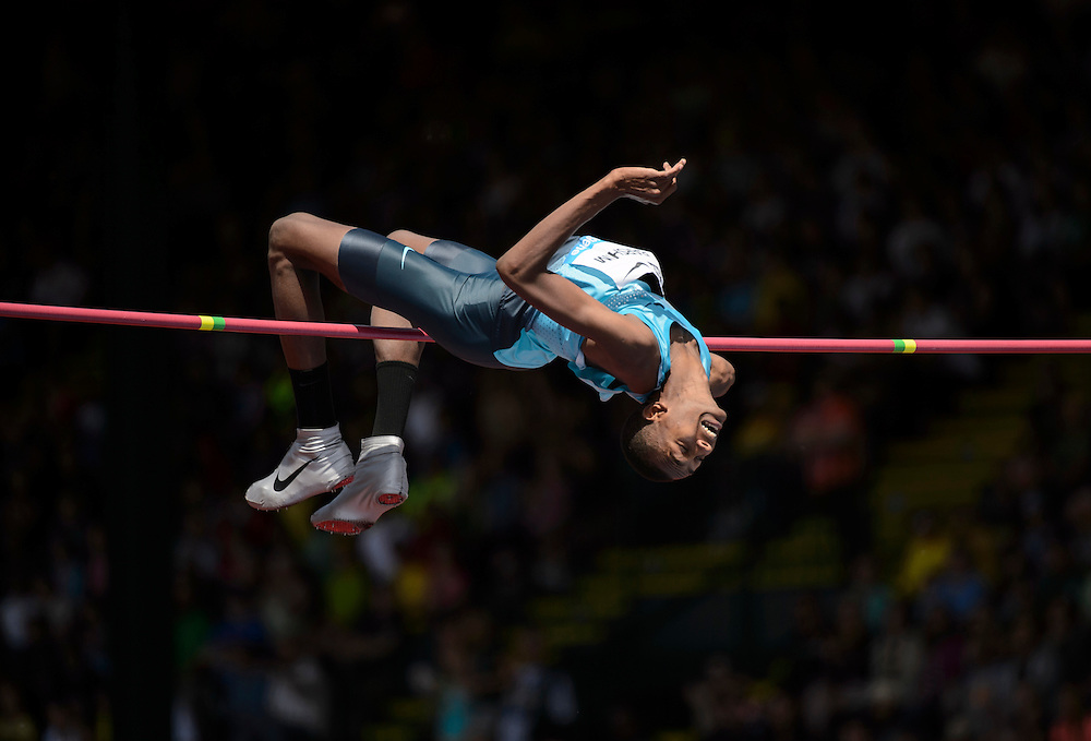 The 2013 Prefontaine Classic Track and Field meet at Hayward Field in Eugene, Oregon.  Qatar's Mutaz Essa Barshim, earned the Maria Mutola Award as the meet's top performer with a clearance of 7 feet, 10 1/2 inches, the best mark ever recorded in the United States in the men's high jump.