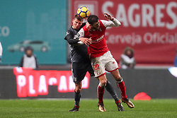 January 13, 2018 - Braga, Braga, Portugal - Benfica's Portuguese defender Ruben Dias (L) vies with Braga's Portuguese forward Paulinho (R) during the Premier League 2017/18 match between SC Braga and SL Benfica, at Municipal de Braga Stadium in Braga on January 13, 2018. (Credit Image: © Dpi/NurPhoto via ZUMA Press)